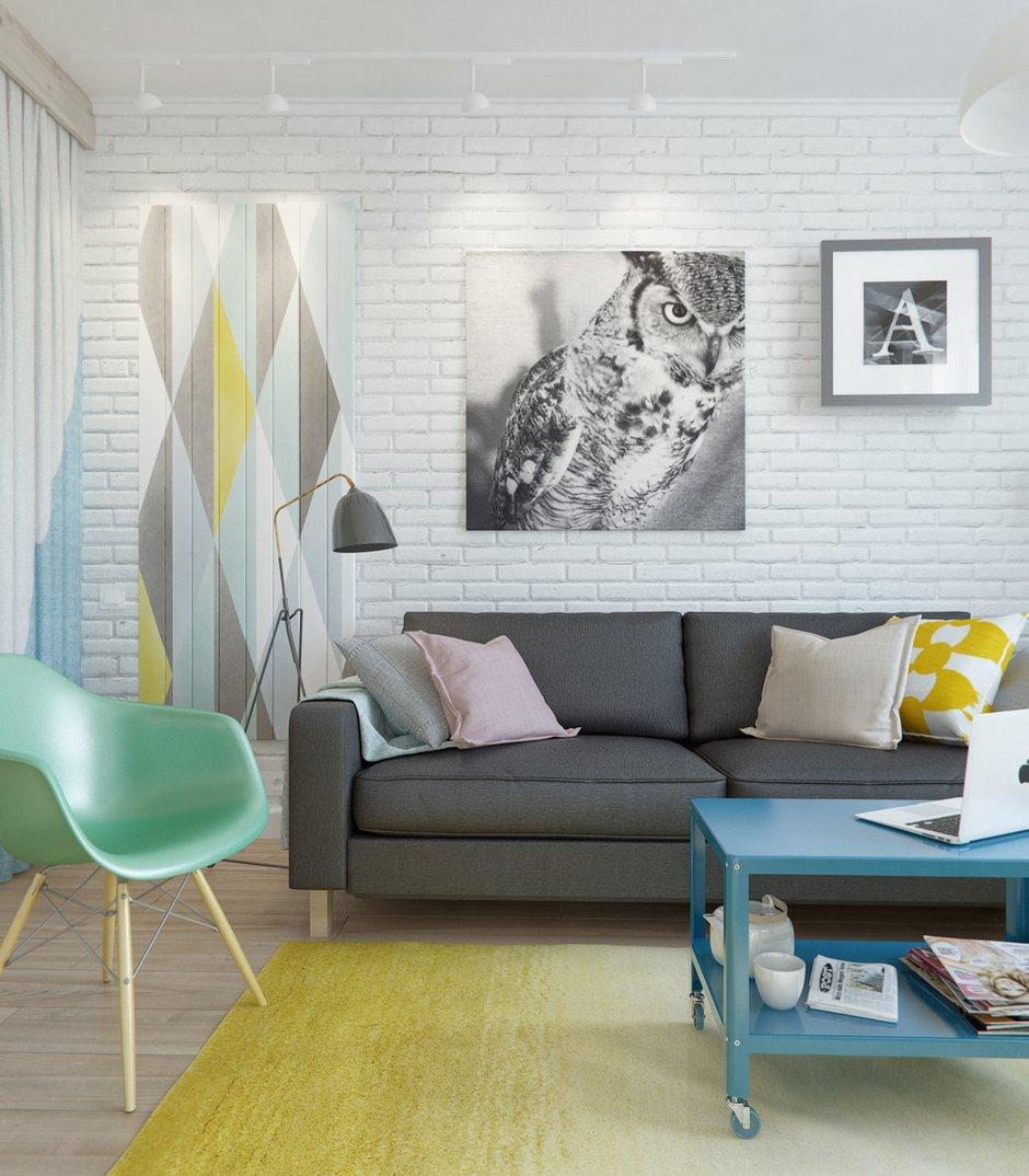 Фотография: Гостиная в стиле Лофт, Скандинавский, Эклектика, Малогабаритная квартира, Квартира, Планировки, Мебель и свет – фото на INMYROOM