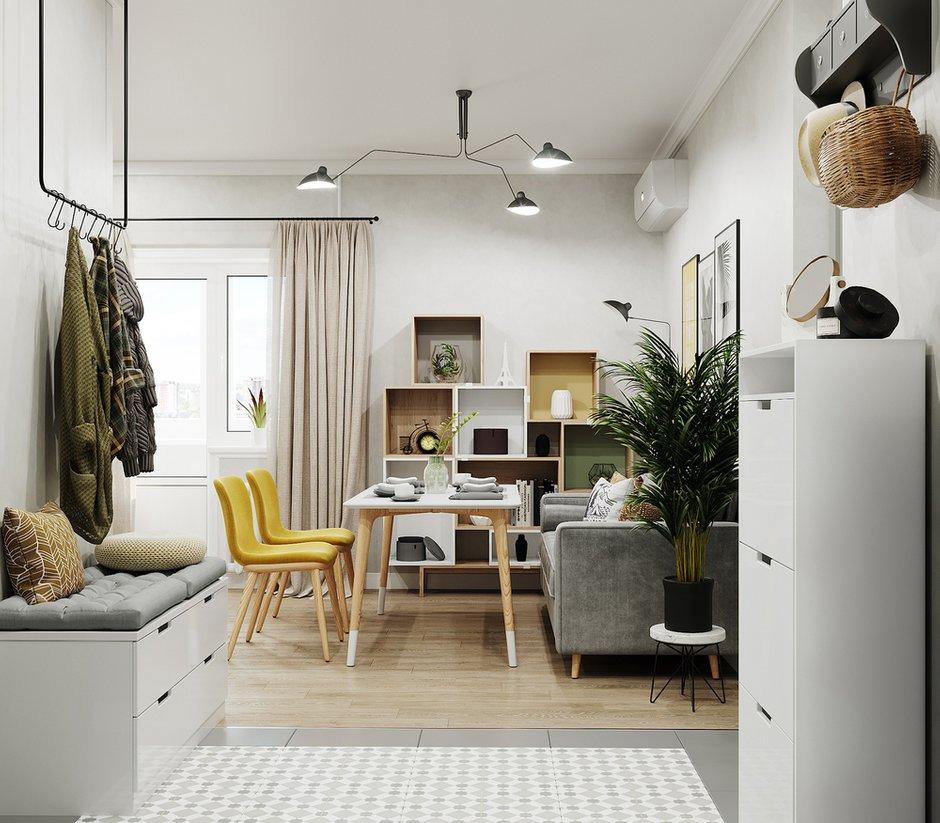 Фотография: Кухня и столовая в стиле Скандинавский, Ванная, Спальня, Квартира, Проект недели, Зеленый, Желтый, Серый, 1 комната, до 40 метров, ПРЕМИЯ INMYROOM – фото на INMYROOM