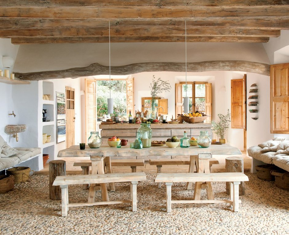 Фотография: Кухня и столовая в стиле Прованс и Кантри, Современный, Декор интерьера, Квартира, Дом, Декор дома, Потолок – фото на INMYROOM