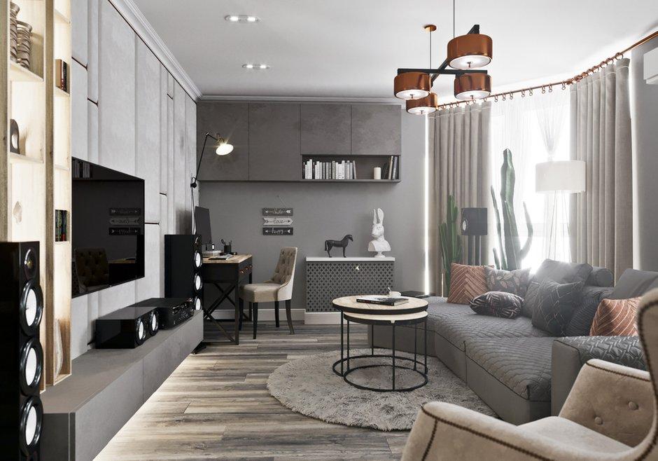 Фотография: Гостиная в стиле Классический, Современный, Квартира, Проект недели, Новосибирск, студия Mango, Монолитный дом, 3 комнаты, Более 90 метров – фото на INMYROOM