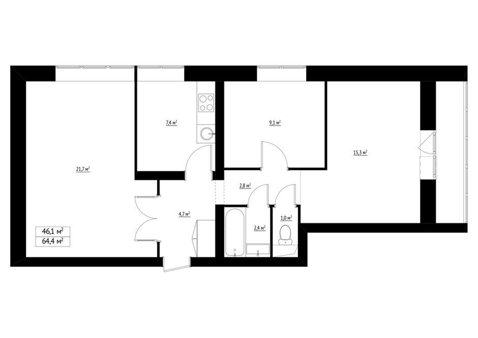 Фотография: Планировки в стиле , Квартира, Перепланировка, Студия Малицких, Марина Лаптева, Блочный дом, 3 комнаты, 60-90 метров, дизайн-баттл – фото на INMYROOM