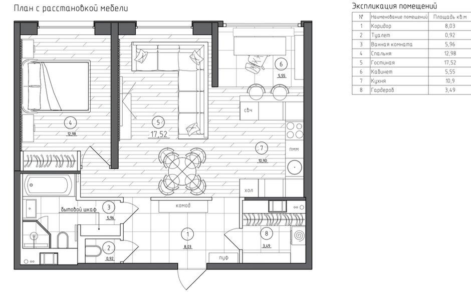 Фотография: Планировки в стиле , Современный, Квартира, Проект недели, Санкт-Петербург, 2 комнаты, 60-90 метров, Balka.Studio – фото на INMYROOM