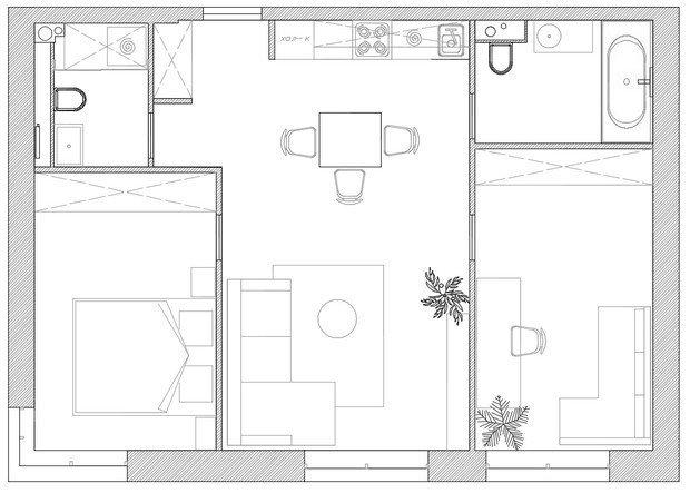 Фотография: Планировки в стиле , Современный, Квартира, Минимализм, Проект недели, Москва, 3 комнаты, 40-60 метров, Валерия Москалева – фото на INMYROOM