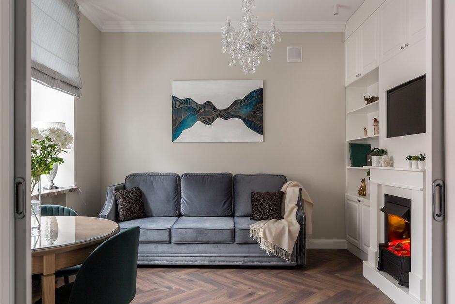 Фотография: Гостиная в стиле Классический, Квартира, Проект недели, Москва, 2 комнаты, 60-90 метров, Muzahouse – фото на INMYROOM