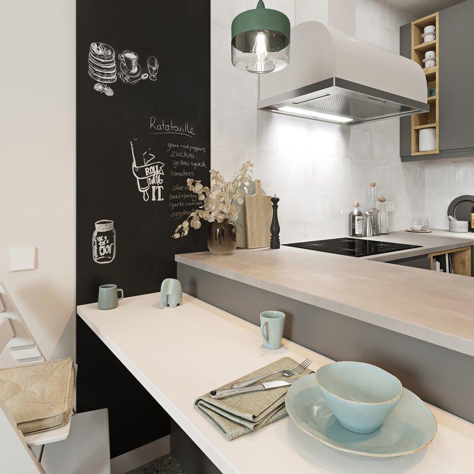 Фотография: Кухня и столовая в стиле Скандинавский, Квартира, Проект недели, Москва, 2 комнаты, 60-90 метров, Эльжбета Чегарова – фото на INMYROOM