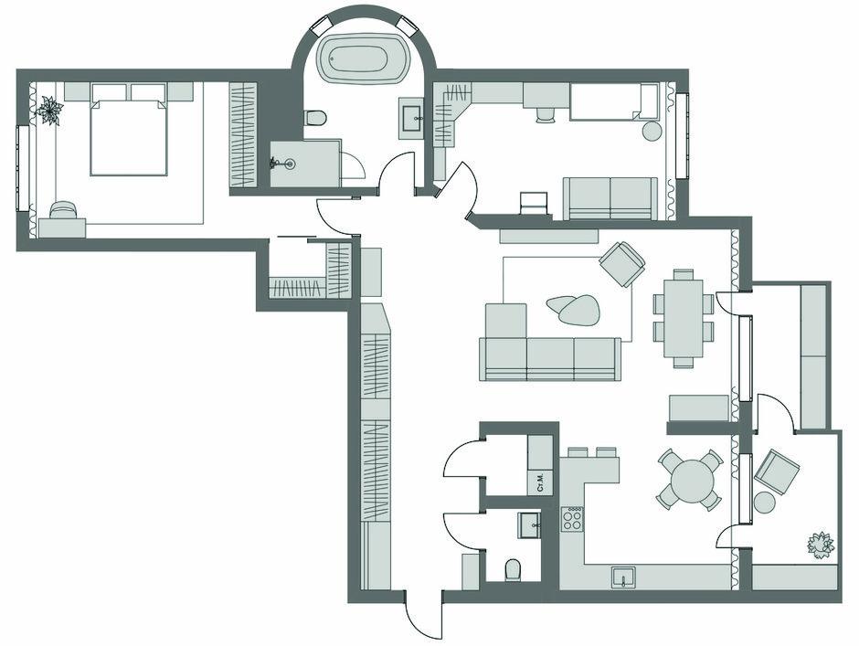 Фотография: Планировки в стиле , Современный, Квартира, Проект недели, 3 комнаты, Более 90 метров, Екатерина Беликова – фото на INMYROOM