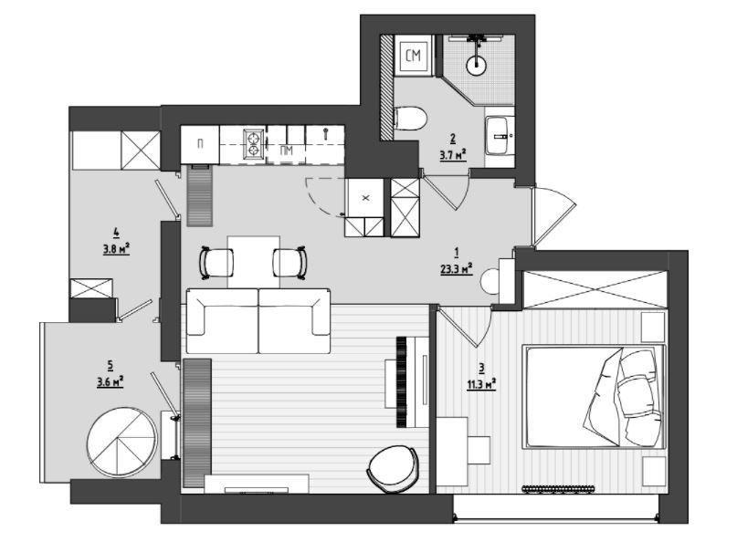 Фотография:  в стиле , Современный, Квартира, Проект недели, Минск, 2 комнаты, 40-60 метров, Merra Architects – фото на INMYROOM