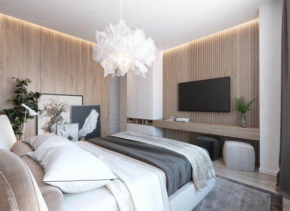 Фотография: Спальня в стиле Минимализм, Эко, Квартира, Проект недели, Московская область, Королев, Монолитный дом, 4 и больше, Более 90 метров, «Ригель и Балка» – фото на INMYROOM