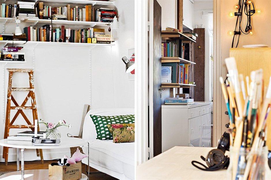 Фотография: Гостиная в стиле , Скандинавский, Малогабаритная квартира, Квартира, Франция, Дома и квартиры – фото на INMYROOM