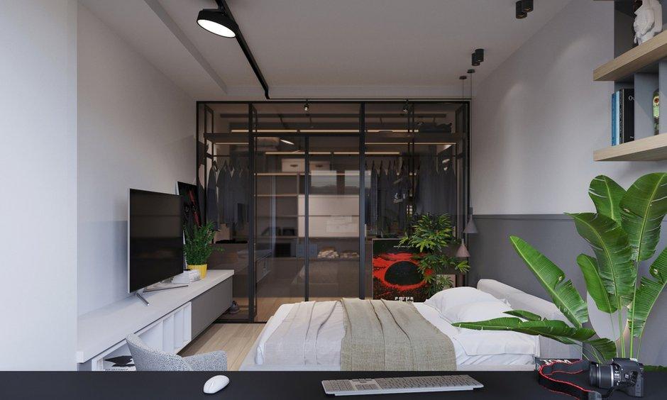 Фотография: Спальня в стиле Лофт, Современный, Квартира, Проект недели, Санкт-Петербург, 2 комнаты, 60-90 метров, Dinamika Architects – фото на INMYROOM