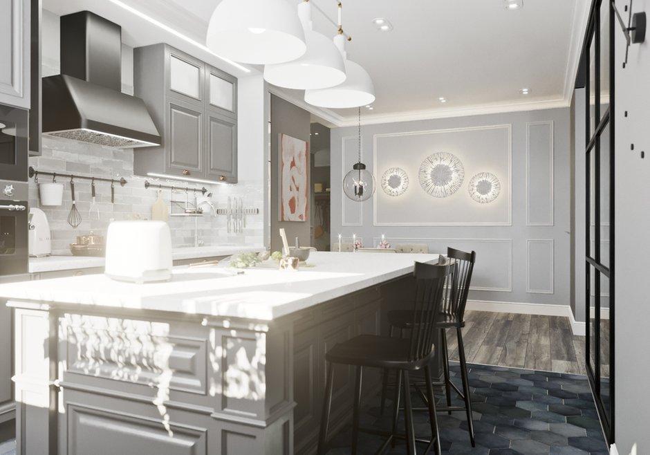 Фотография: Кухня и столовая в стиле Классический, Современный, Квартира, Проект недели, Новосибирск, студия Mango, Монолитный дом, 3 комнаты, Более 90 метров – фото на INMYROOM