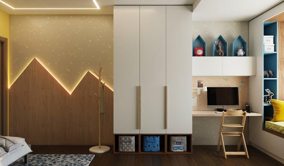 В отделке стен использовали английскую краску Farrow and Ball, необычную стеновую панель из шпона с имитацией гор с подсветкой.