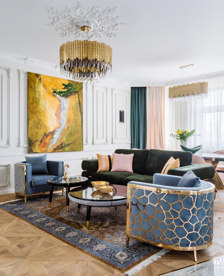 Фотография: Гостиная в стиле Классический, Эклектика, Квартира, Проект недели, Москва, Монолитный дом, 4 и больше, Более 90 метров, #эксклюзивныепроекты, Инна Арбуа, ПРЕМИЯ INMYROOM – фото на INMYROOM