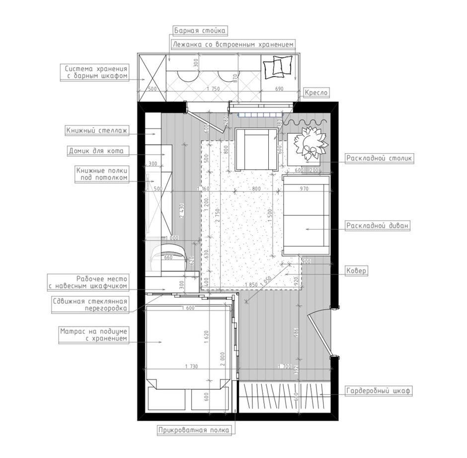 Фотография: Планировки в стиле , Квартира, Перепланировка, Панельный дом, 1 комната, до 40 метров, Мария Лазич, Leroy Merlin, дизайн-баттл, П-44Т, Марина Подъячева – фото на INMYROOM