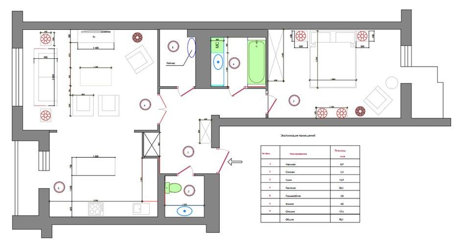 Фотография: Планировки в стиле , Современный, Квартира, Украина, Проект недели, Киев, Монолитный дом, 2 комнаты, 60-90 метров, Яна Молодых – фото на INMYROOM