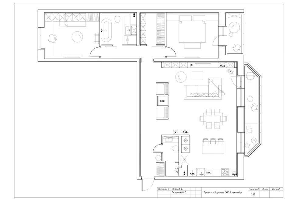 Фотография: Планировки в стиле , Квартира, Проект недели, Москва, Geometrium, 3 комнаты, Более 90 метров, Монолитно-кирпичный, ЖК «Александр» – фото на INMYROOM