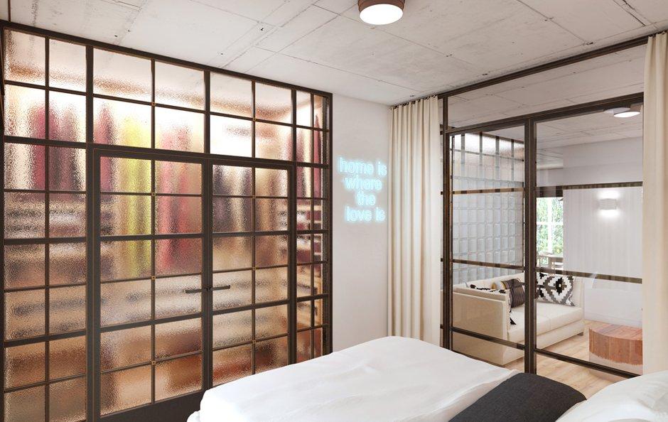 Фотография: Спальня в стиле Лофт, Минимализм, Эклектика, Квартира, Проект недели, ИКЕА, Circle Line – фото на INMYROOM
