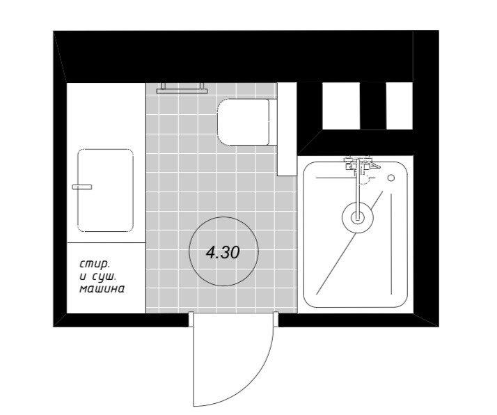 Фотография: Планировки в стиле , Ванная, Перепланировка, Татьяна Воронцова, Панельный дом, С-222 – фото на INMYROOM