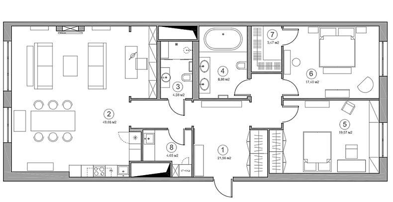 Фотография: Планировки в стиле , Декор интерьера, Квартира, Проект недели, Москва, Надя Зотова, 3 комнаты, Более 90 метров, студия Enjoy Home, Монолитно-кирпичный – фото на INMYROOM
