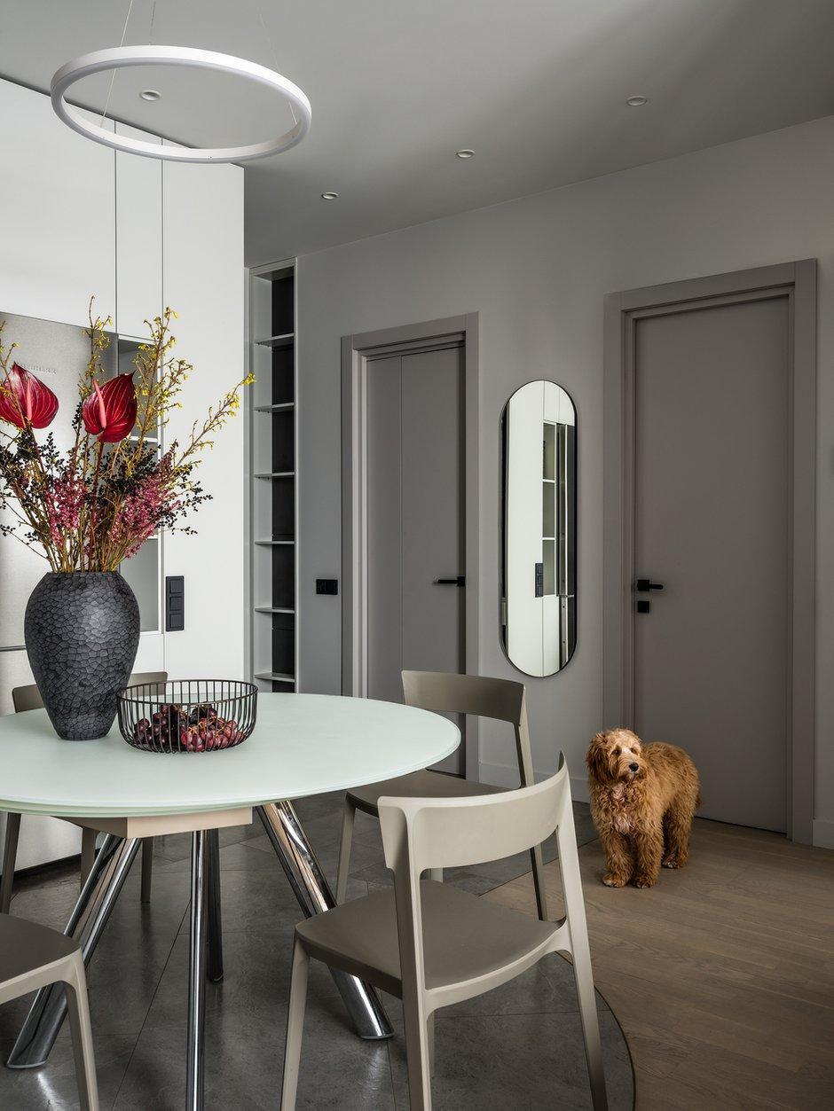 Прихожая является частью общего пространства, между двумя дверьми в гардеробную и гостевой санузел разместили зеркало овальной формы.