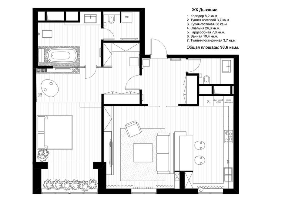Фотография: Планировки в стиле , Квартира, Проект недели, Москва, Эко, Монолитный дом, 2 комнаты, 60-90 метров, Анна Морозова, ЖК «Дыхание» – фото на INMYROOM