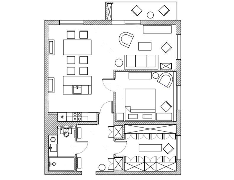 Фотография: Планировки в стиле , Квартира, Проект недели, Надя Зотова, Синий, Новая Москва, 3 комнаты, 60-90 метров, студия Enjoy Home – фото на INMYROOM
