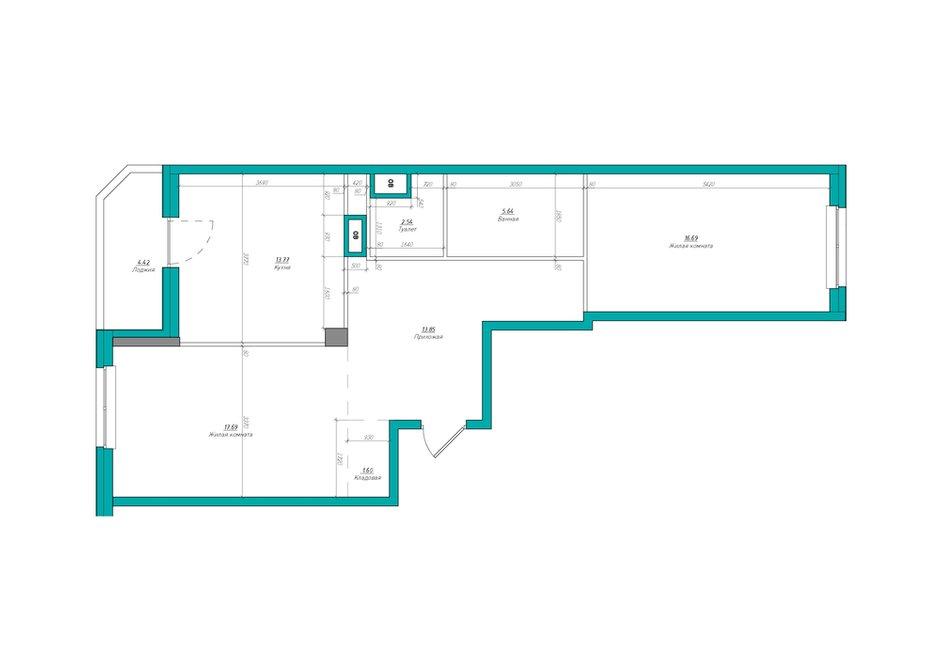 Фотография: Планировки в стиле , Квартира, Проект недели, Москва, Co:Interior, Монолитный дом, 2 комнаты, 60-90 метров, ЖК «Мосфильмовский» – фото на INMYROOM