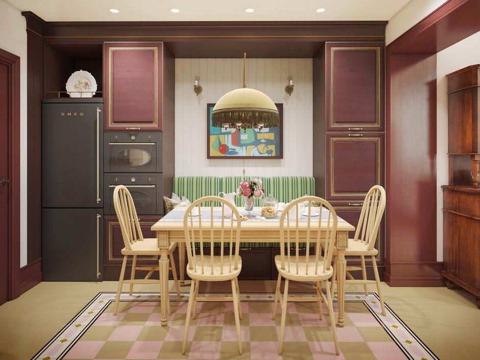 Фотография:  в стиле , Кухня и столовая, Классический, Белый, Проект недели, Красный, Little Greene, как оформить балкон, Smeg, как оформить интерьер в классическом стиле, как оформить интерьер кухни, Vives ceramica, Самара, Nika d'Oro, Маша Яшина, DifferentRooms, дизайн кухни, цвет марсала, как присоединить балкон к кухне, кухня в русском стиле – фото на INMYROOM