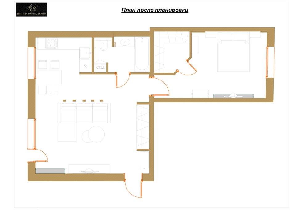 Фотография: Планировки в стиле , Квартира, Проект недели, Москва, Сталинка, 2 комнаты, 40-60 метров, Анна Елина, Ольга Алексеенко – фото на INMYROOM