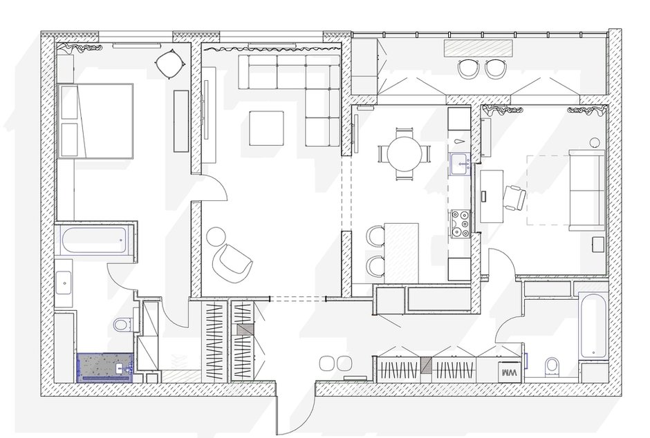 Фотография: Планировки в стиле , Современный, Квартира, Проект недели, Москва, 3 комнаты, Более 90 метров, Наталья Широкова – фото на INMYROOM