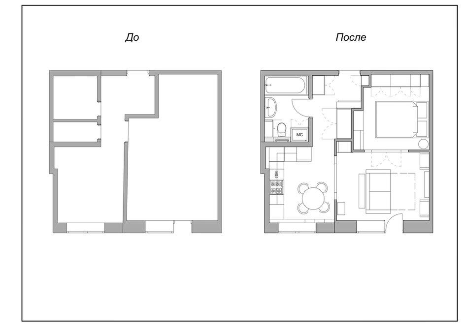 Фотография: Планировки в стиле , Квартира, Проект недели, Москва, Сталинка, Кирпичный дом, 1 комната, 2 комнаты, до 40 метров, Анна Лубкова – фото на INMYROOM