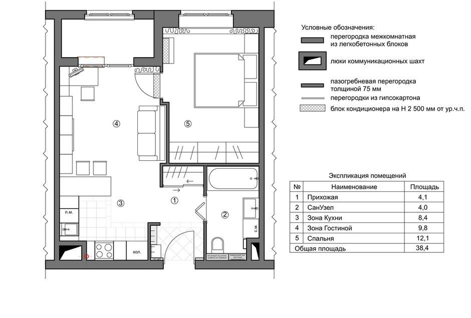Фотография: Планировки в стиле , Малогабаритная квартира, Квартира, Проект недели, Москва, Монолитный дом, 2 комнаты, до 40 метров, Юлия Беляева – фото на INMYROOM