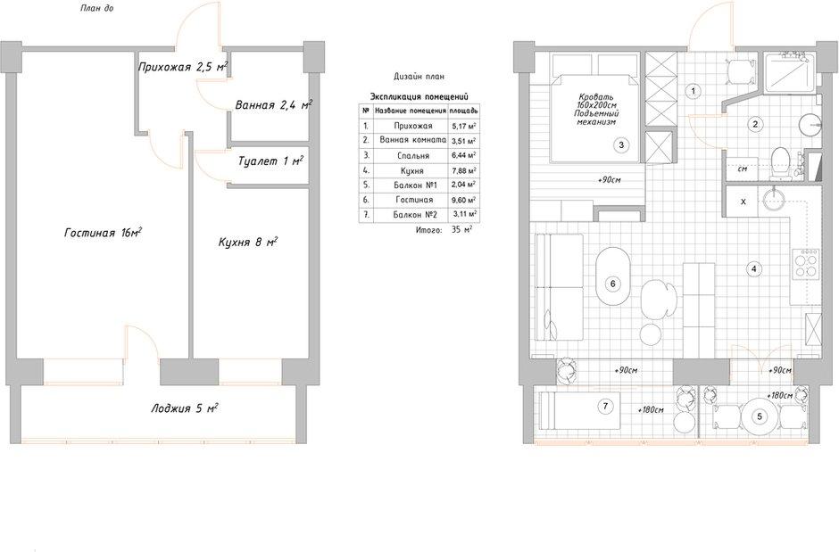 Фотография: Планировки в стиле , Малогабаритная квартира, квартира холостяка, малогабаритка, 1 комната, до 40 метров, Юлия Тельнова – фото на INMYROOM