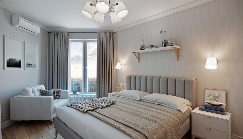Фотография: Спальня в стиле Современный, Квартира, Проект недели, Co:Interior, Монолитный дом, 2 комнаты, 60-90 метров, Южно-Сахалинск – фото на INMYROOM