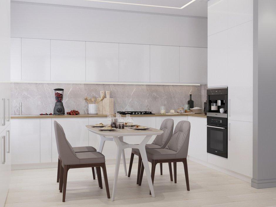Фотография: Кухня и столовая в стиле Современный, Белый, Проект недели, Серый, Таунхаус, Более 90 метров, ПРЕМИЯ INMYROOM – фото на INMYROOM