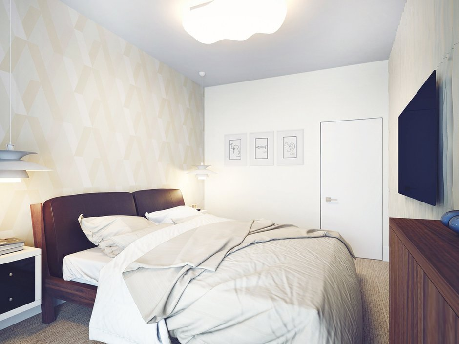 Фотография: Спальня в стиле Современный, Декор интерьера, Квартира, Планировки, Хранение, Текстиль, Освещение, Декор, Мебель и свет, Минимализм, Проект недели, Перепланировка – фото на InMyRoom.ru
