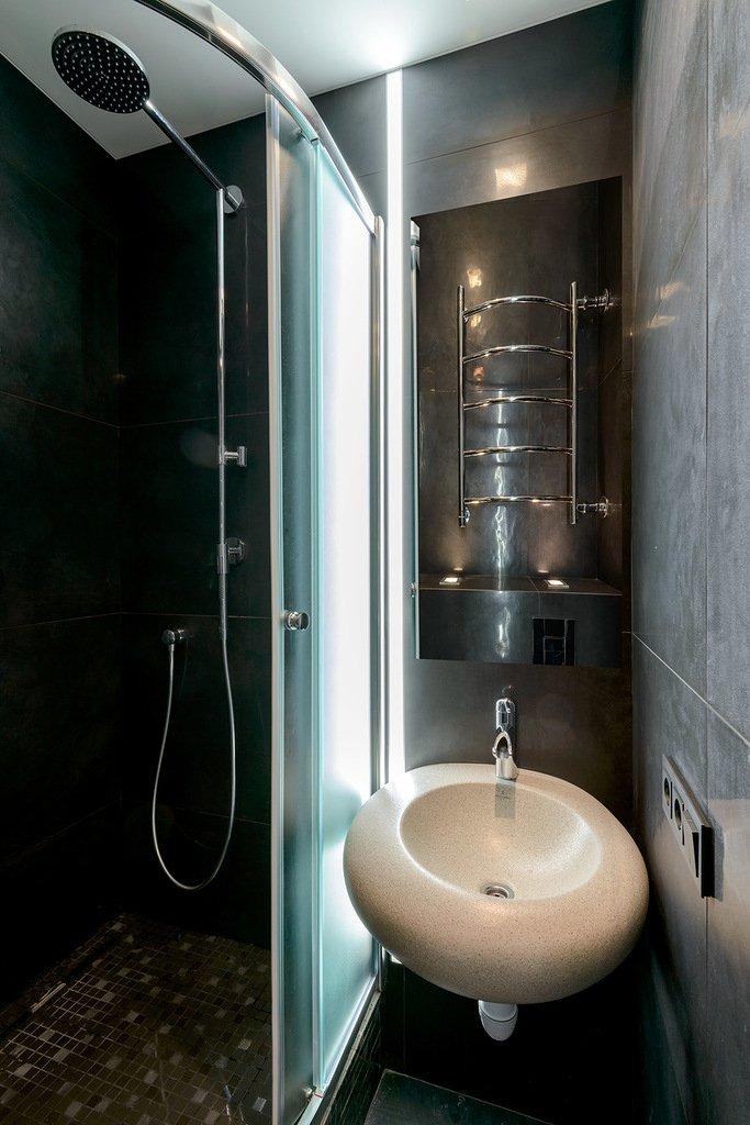 Фотография: Ванная в стиле Современный, Малогабаритная квартира, Квартира, Дома и квартиры, Минимализм, Переделка – фото на INMYROOM