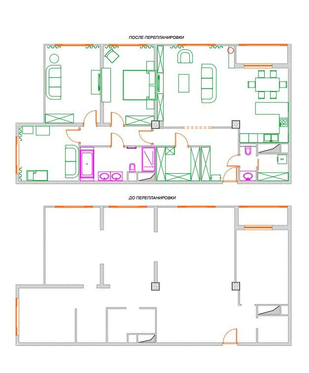 Фотография: Планировки в стиле , Эклектика, Квартира, Проект недели, Москва, Монолитный дом, 3 комнаты, Более 90 метров, Александр Кривов – фото на InMyRoom.ru
