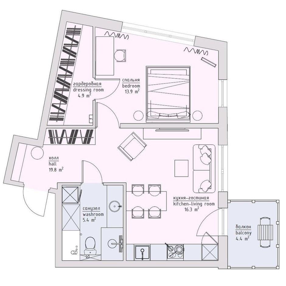 Фотография: Планировки в стиле , Современный, Квартира, Проект недели, Санкт-Петербург, Ульяна Скапцова, 2 комнаты, 40-60 метров, US Interior – фото на INMYROOM
