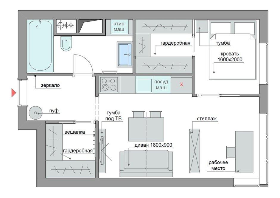 Фотография: Планировки в стиле , Квартира, Перепланировка, ЖК АРТ, перепланировка двухкомнатной квартиры, двушка, планировка двушки, ЖК ART – фото на INMYROOM