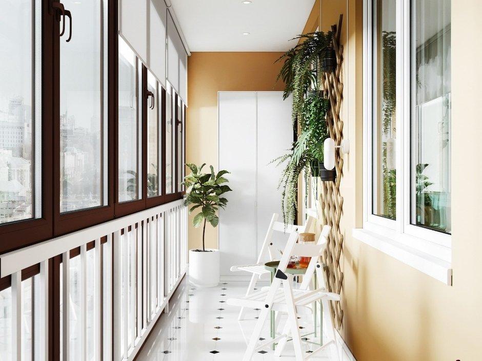 Фотография: Балкон в стиле Современный, Эко, Кухня и столовая, Ванная, Гостиная, Квартира, Белый, Проект недели, Бежевый, Серый, 1 комната, до 40 метров, ПРЕМИЯ INMYROOM – фото на INMYROOM