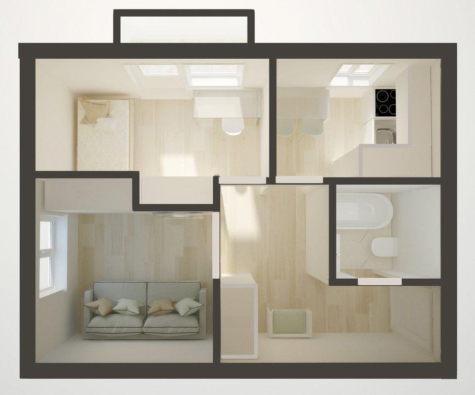 Фотография: Спальня в стиле Современный, Эклектика, Малогабаритная квартира, Квартира, Планировки, Перепланировка, Кирпичный дом, 1 комната, до 40 метров – фото на INMYROOM
