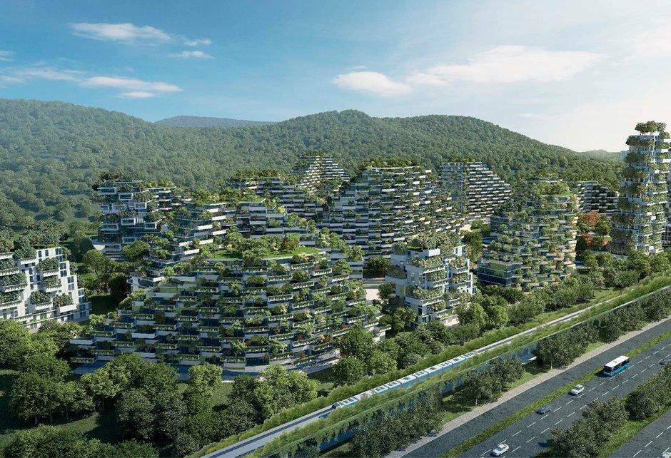 Проект экогорода Forest City Shijiazhuang, дизайн: Stefano Boeri Architetti