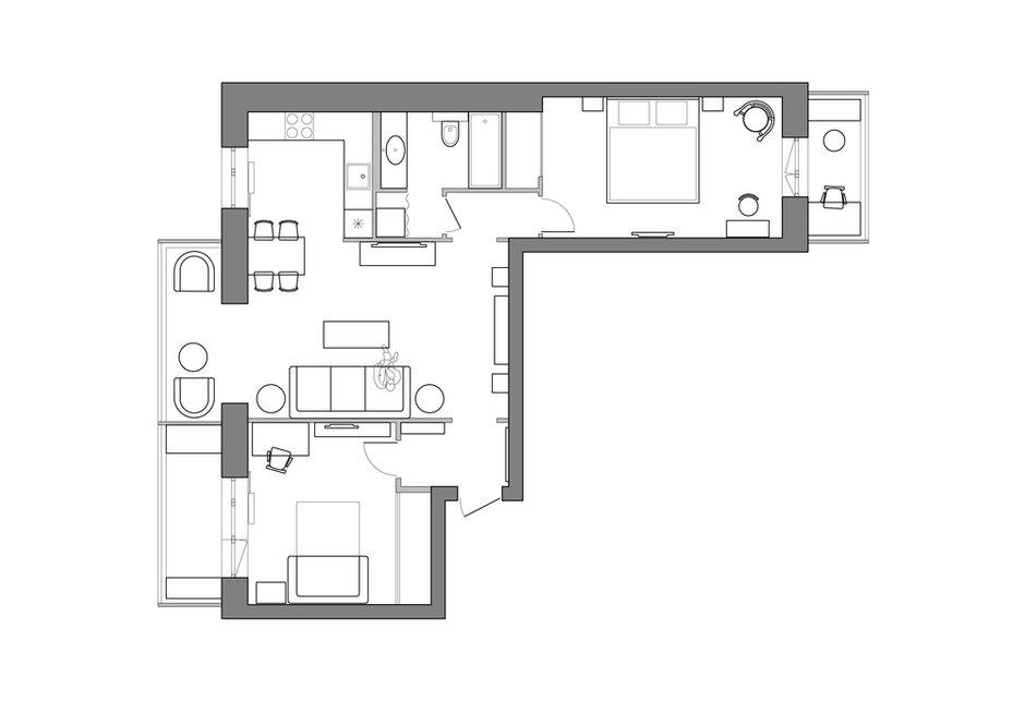 Фотография: Планировки в стиле , Восточный, Квартира, Проект недели, Москва, Маргарита Мустафина, Кирпичный дом, 3 комнаты, 60-90 метров, II-29 – фото на INMYROOM