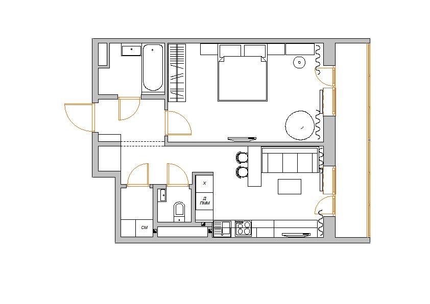 Фотография: Планировки в стиле , Малогабаритная квартира, Квартира, Цвет в интерьере, Дома и квартиры, Белый, Переделка – фото на INMYROOM