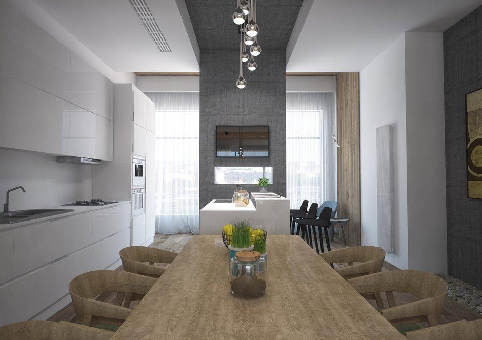 Фотография: Кухня и столовая в стиле Лофт, Гостиная, Проект недели, Москва, Grafit Architects, ЖК Форт Кутузова – фото на INMYROOM
