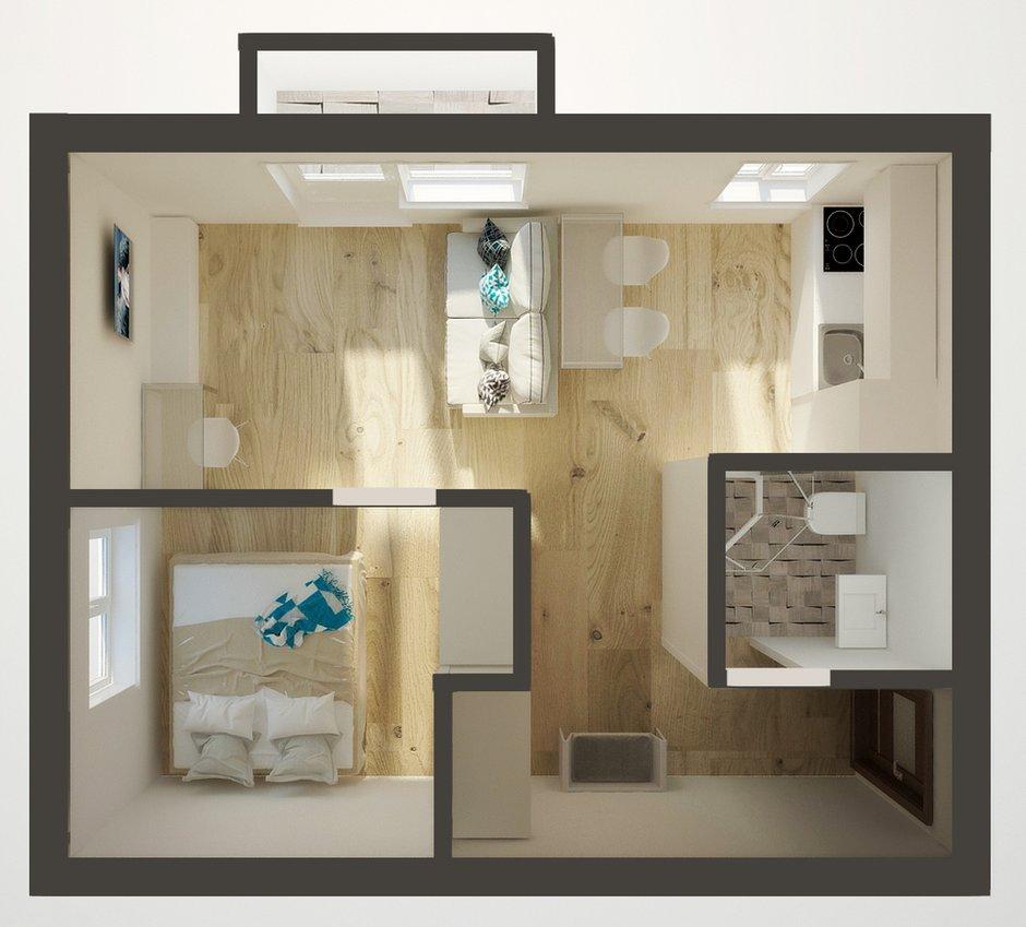 Фотография: Спальня в стиле Прованс и Кантри, Скандинавский, Малогабаритная квартира, Квартира, Планировки, Перепланировка, Кирпичный дом, 1 комната, до 40 метров – фото на INMYROOM