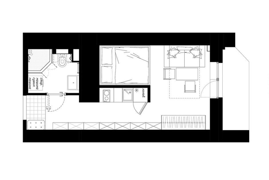 """Фотография: Планировки в стиле , Квартира, Студия, Перепланировка, Никита Зуб, до 40 метров, Монолитно-кирпичный, планировочная среда, ЖК """"Капитан Немо"""" – фото на INMYROOM"""