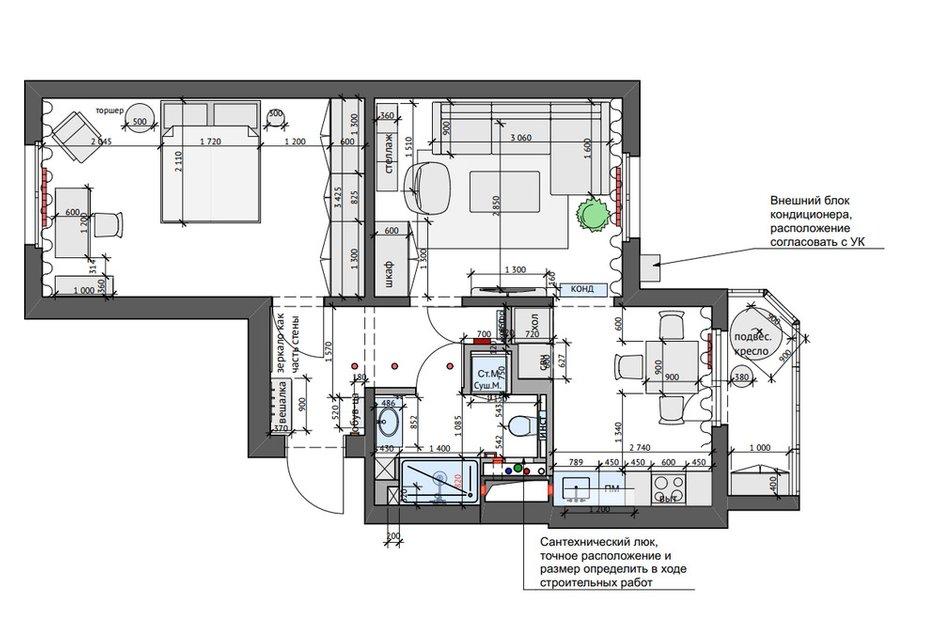 Фотография: Планировки в стиле , Современный, Квартира, Проект недели, Москва, 2 комнаты, 40-60 метров, КубКвадрат – фото на INMYROOM