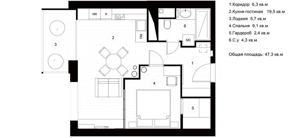 Фотография: Планировки в стиле , Квартира, Проект недели, Москва, Монолитный дом, 2 комнаты, 40-60 метров, Руслан Просвирин, PROSVIRIN DESIGN STUDIO – фото на INMYROOM